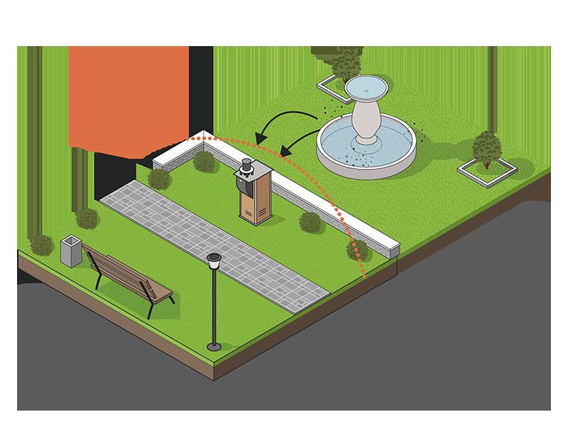 Schéma de D'installation de borne anti moustique en ville