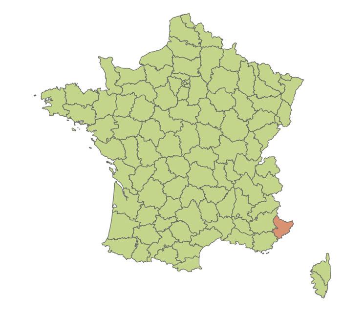 Carte de la présence du moustique-tigre en France 2004
