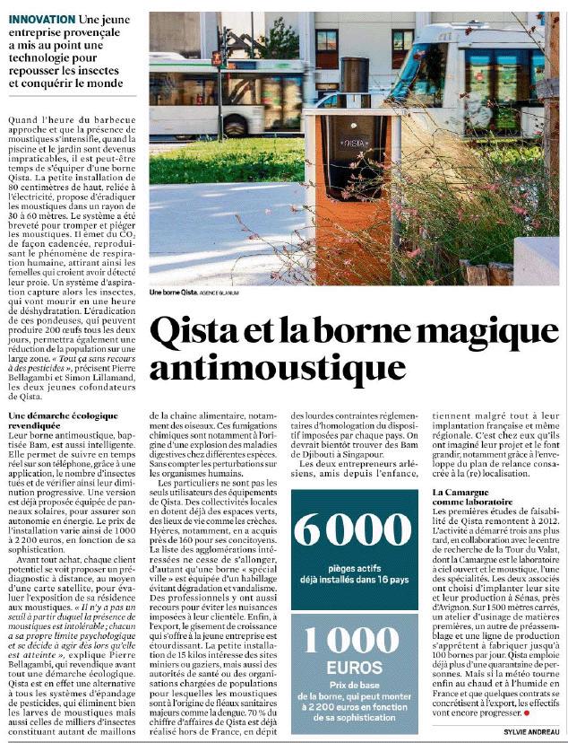 Le JDD parle de la borne anti moustique efficace conceptualisée par QISTA