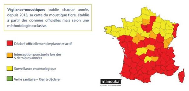 Heatmap de l'implantation du moustique tigre en France 2020