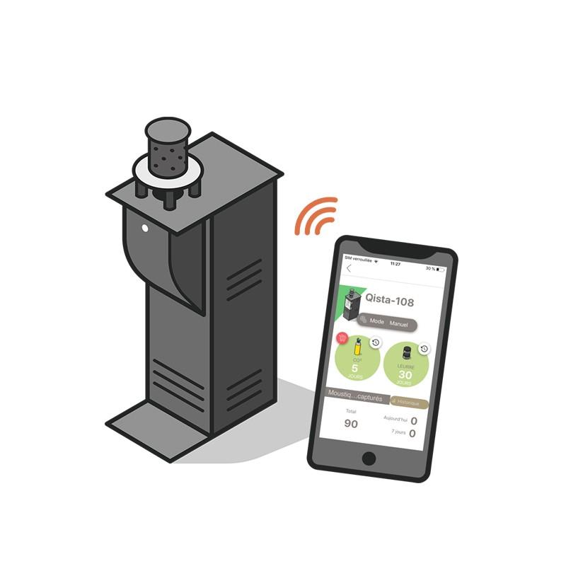 Sélectionnez le programme de capture associé au type de moustique, surveillez le niveau des consommables, les prévisions météo, et l'historique des moustiques capturés grâce à l'application Qista.